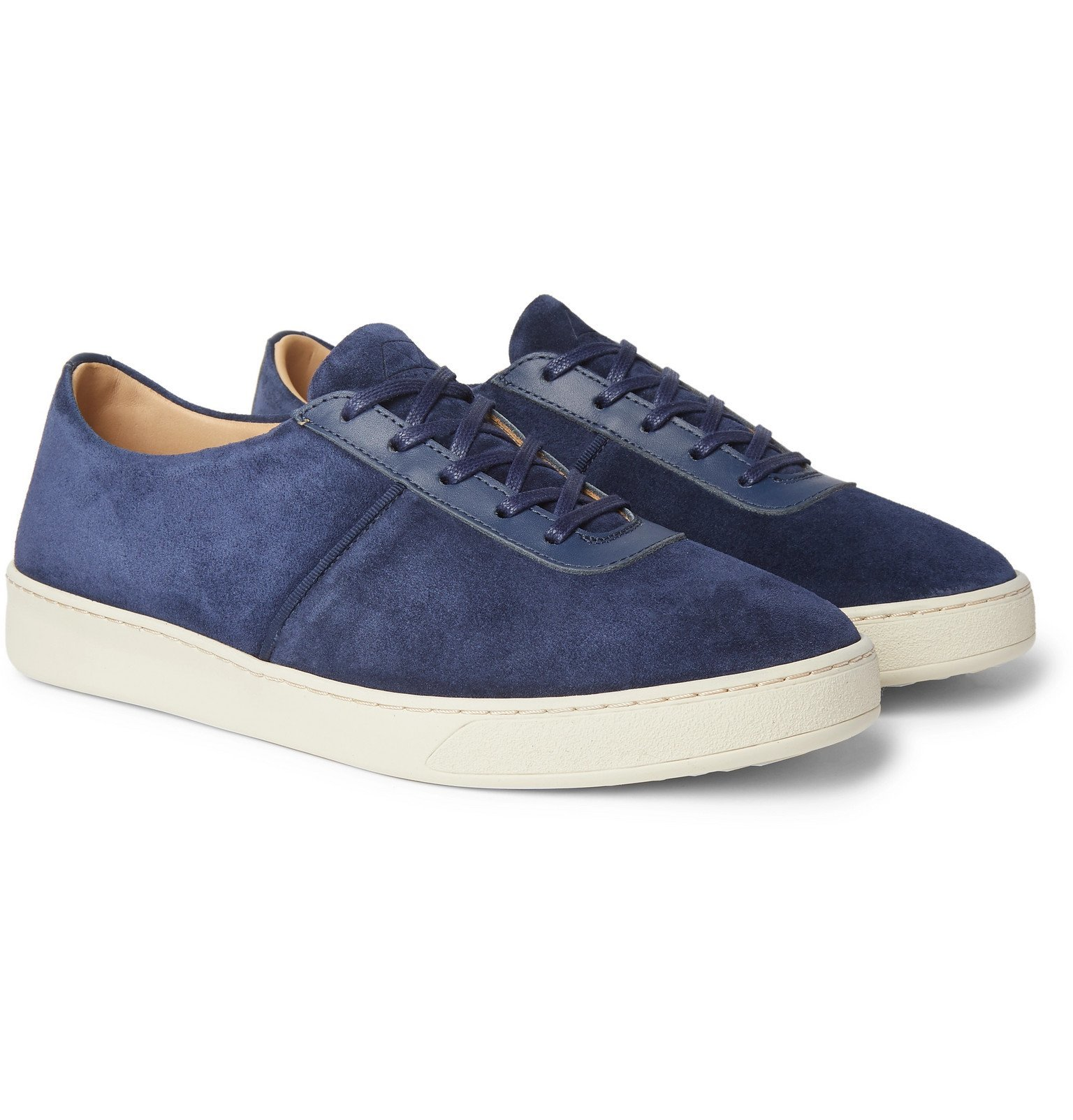 Photo: Mulo - Leather-Trimmed Suede Sneakers - Blue