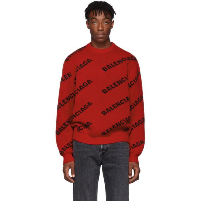 Black Wool All Over Logo Sweater Balenciaga