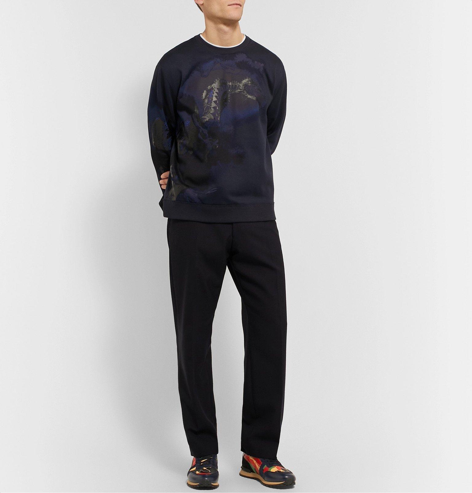 Valentino - Valentino Garavani Rockrunner Camouflage-Print Canvas, Leather and Suede Sneakers - Orange
