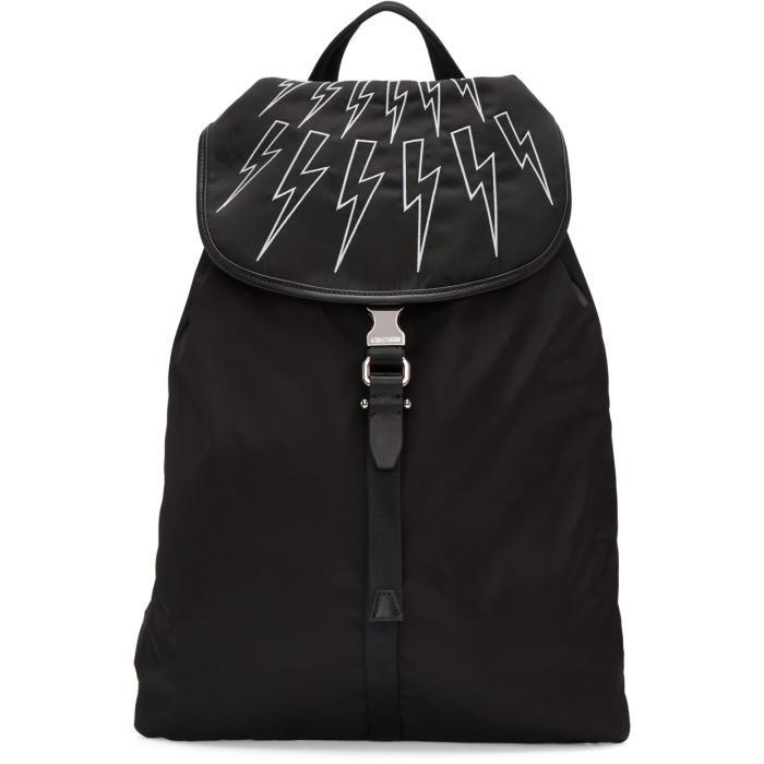 Neil Barrett Black Leather Flap Backpack Neil Barrett