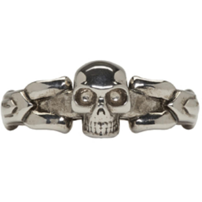 Photo: Alexander McQueen Silver Textured Skull Ring