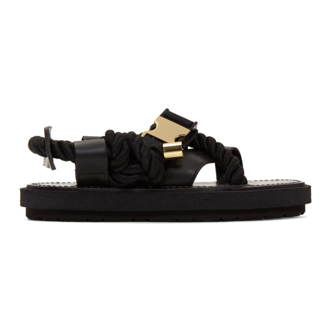 Sacai Black and Gold Rope Sandals