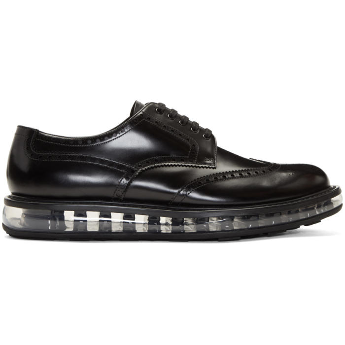 Photo: Prada Black Wingtip Creeper Brogues