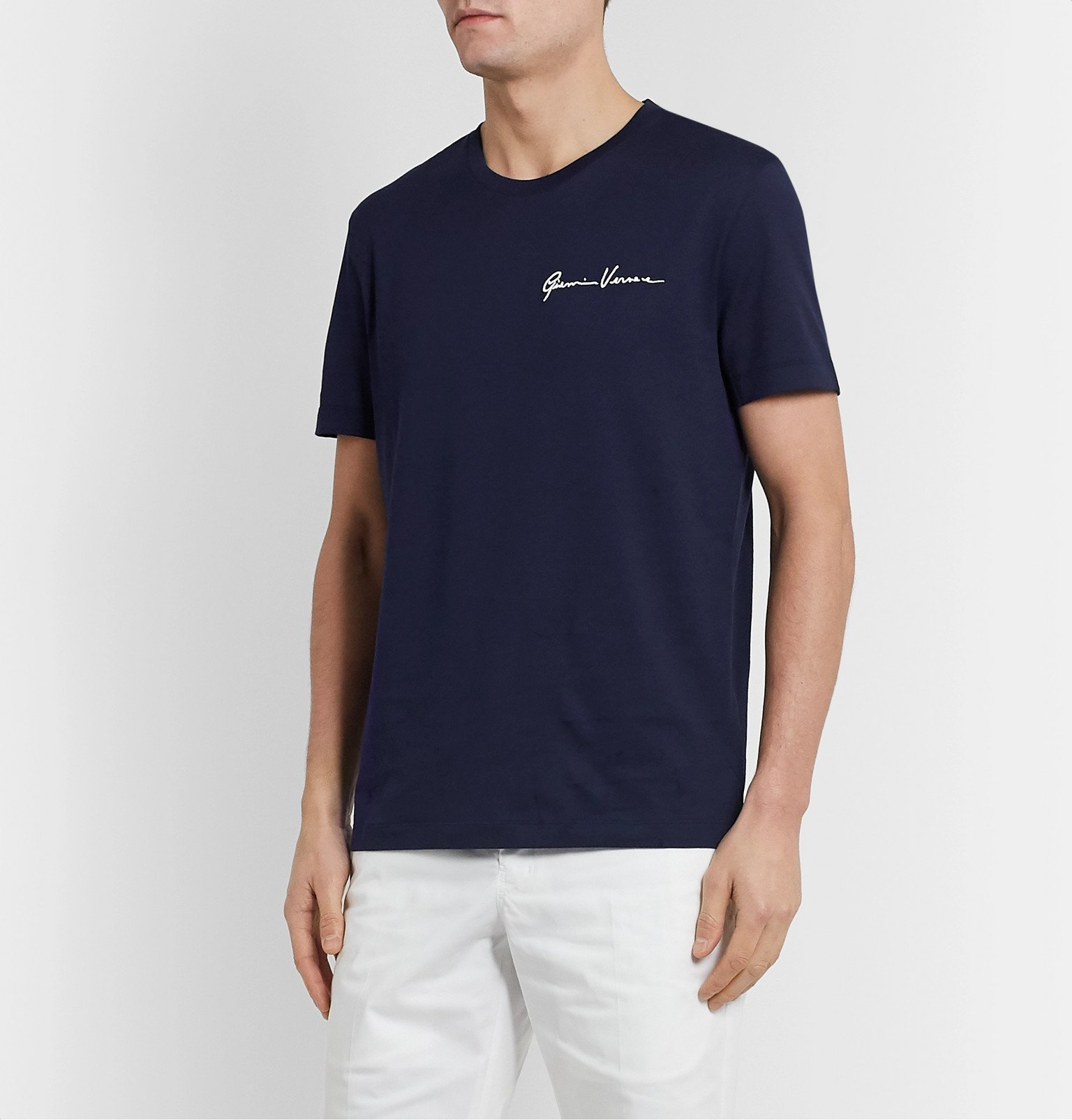 Versace - Logo-Embroidered Cotton-Jersey T-Shirt - Blue