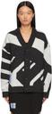 MCQ Grey Jacquard Knit Oversized Cardigan