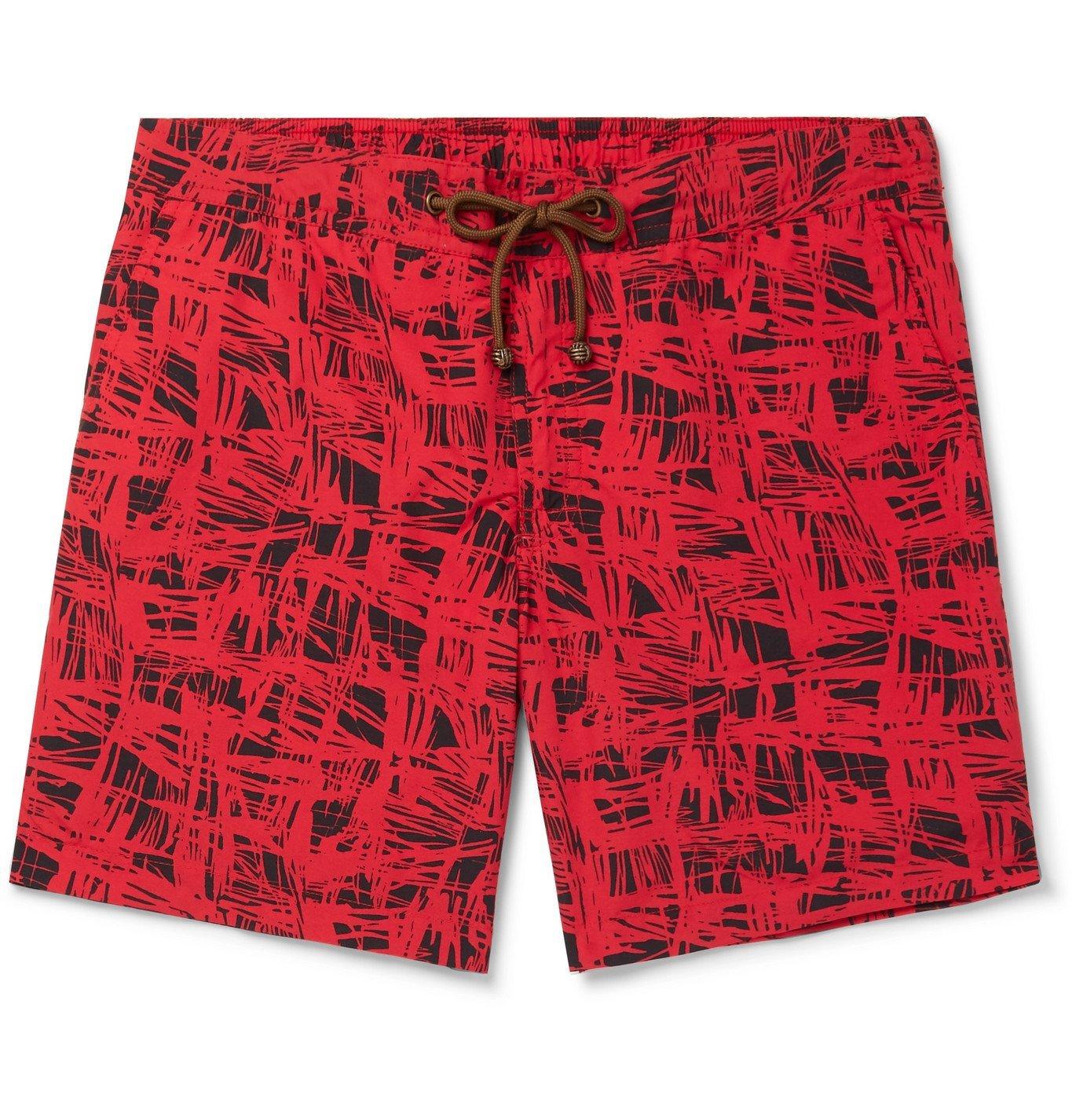 Photo: Thorsun - Charvet Mid-Length Printed Swim Shorts - Red