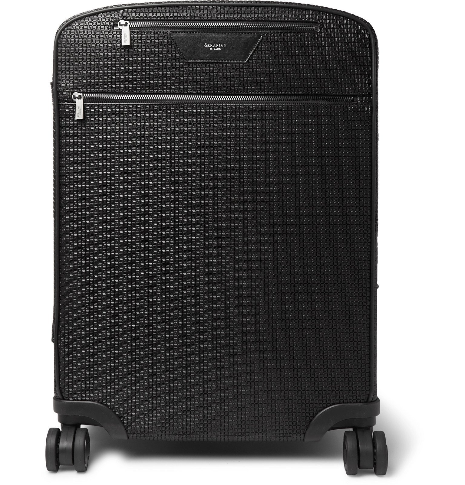 Photo: Serapian - Leather-Trimmed Stepan Coated-Cotton Carry-On Suitcase - Black