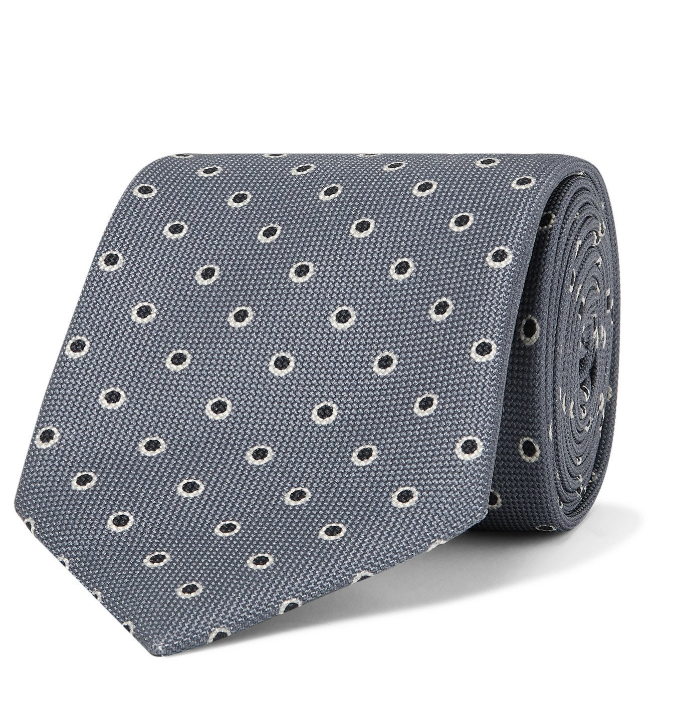 Photo: BRIONI - 8cm Polka-Dot Silk-Jacquard Tie - Gray