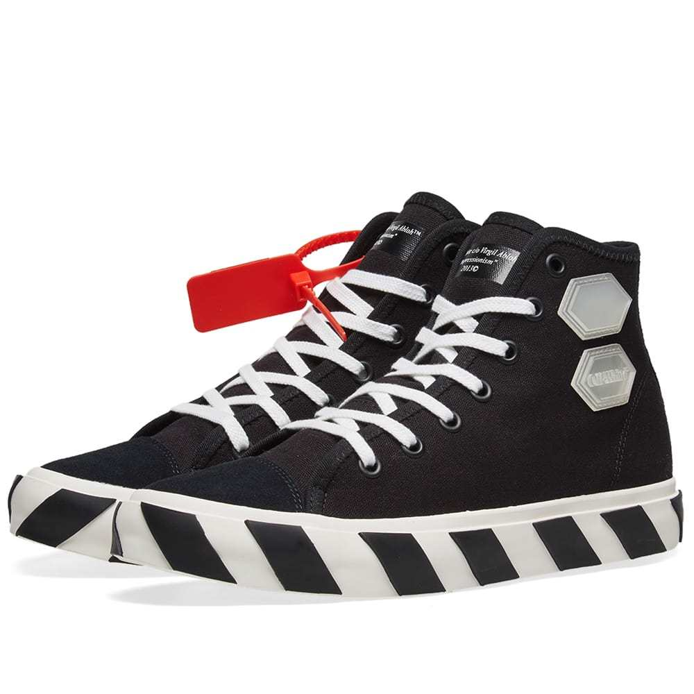 Photo: Off-White Vulcanised Striped Hi Top Sneaker