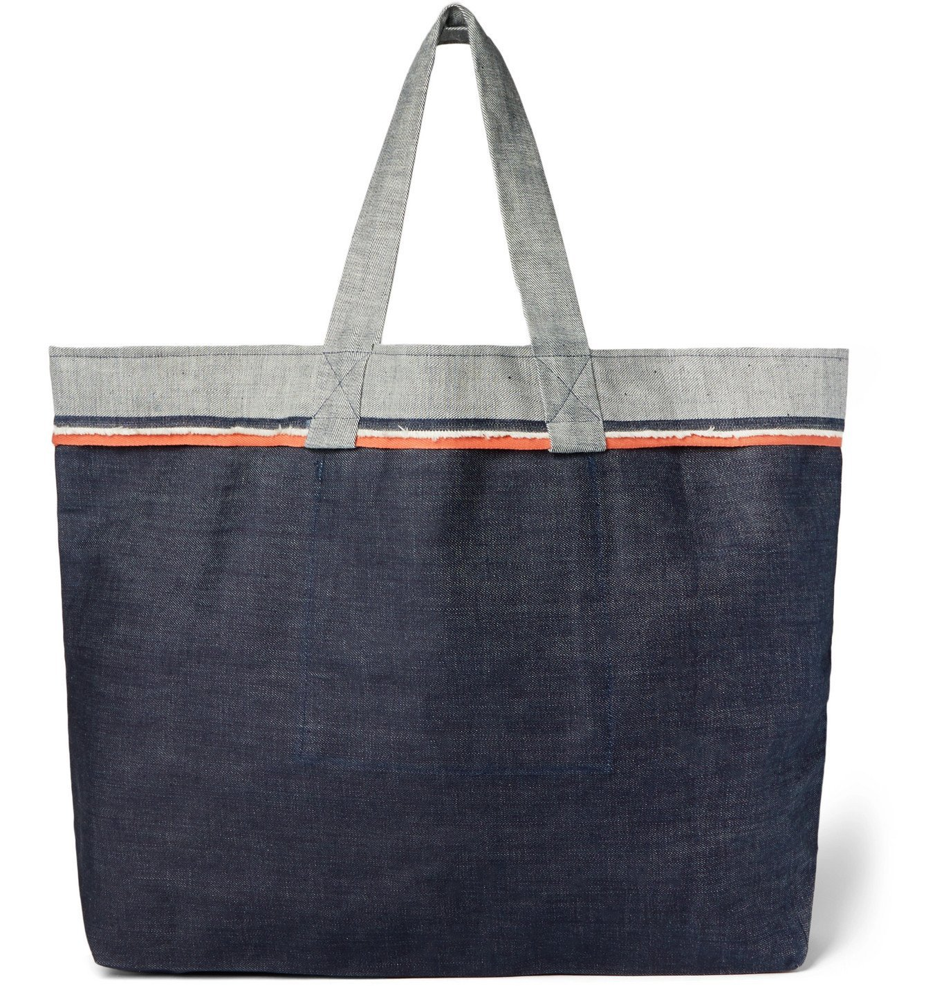Photo: Cleverly Laundry - Twill-Trimmed Frayed Denim Tote - Blue