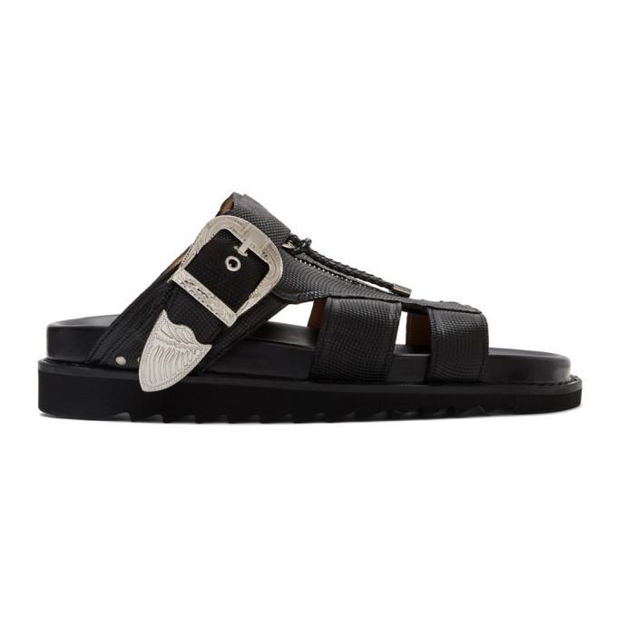 Photo: Toga Virilis Black Tumbled Leather Sandals