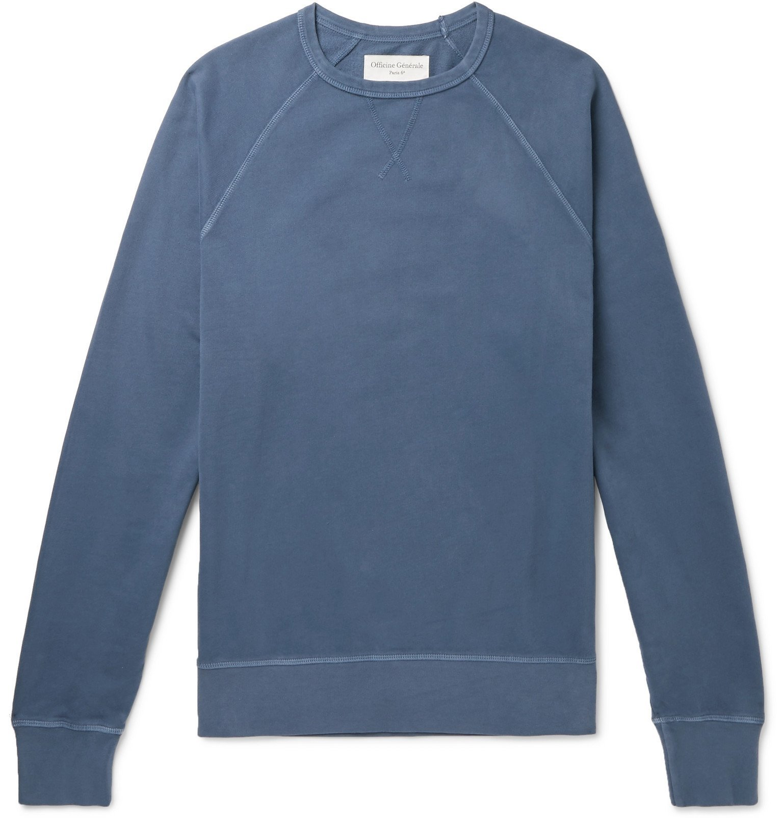 Photo: Officine Generale - Clement Pigment-Dyed Loopback Cotton-Jersey Sweatshirt - Blue