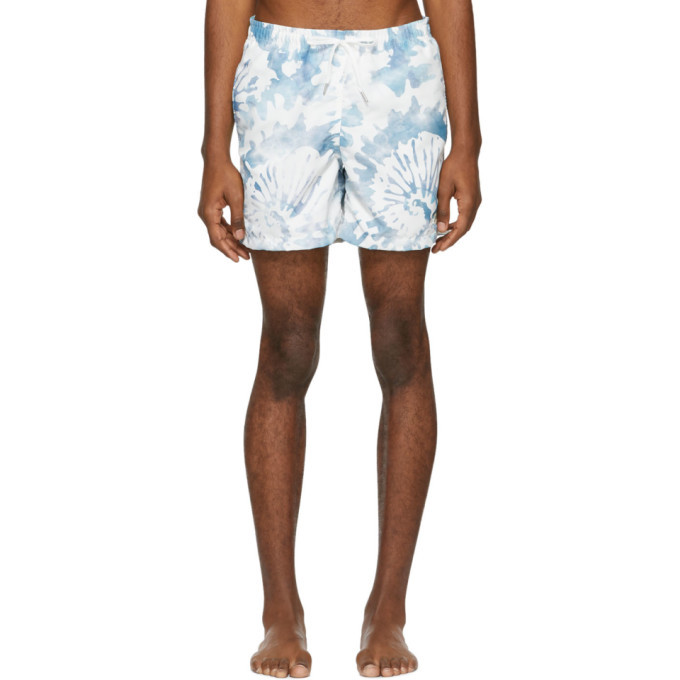 Photo: Bather White and Green Tie-Dye Swim Shorts
