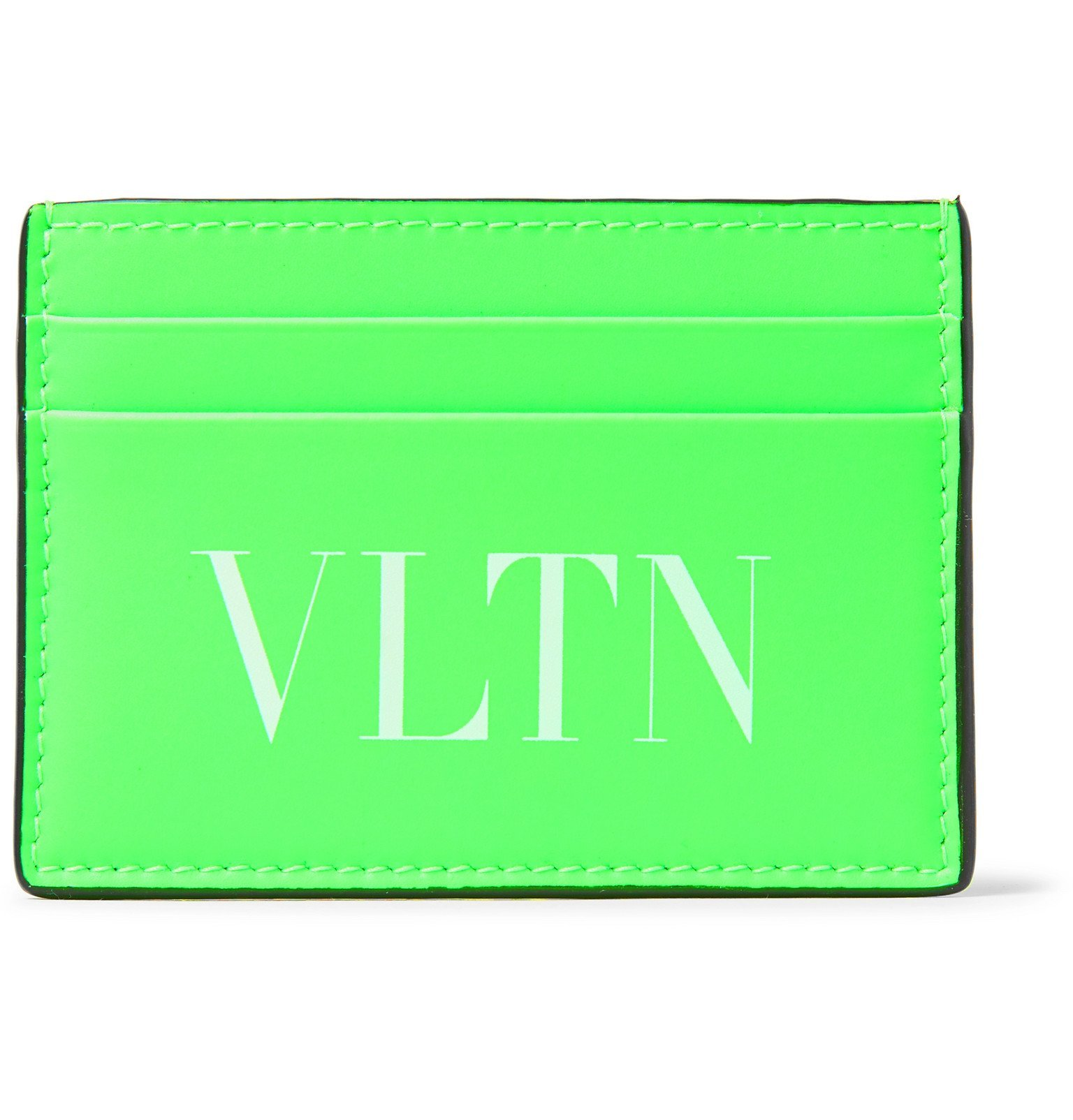 Photo: Valentino - Valentino Garavani Logo-Print Neon Leather Cardholder - Green