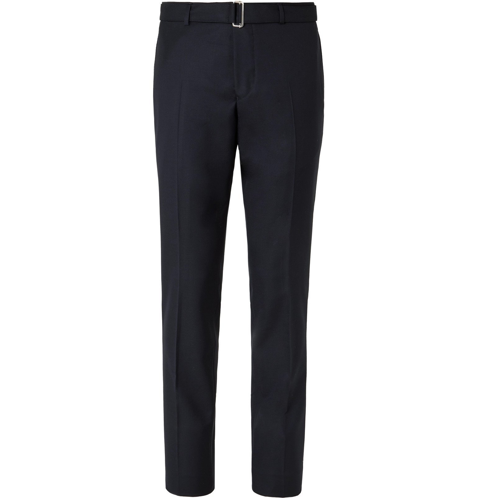 Photo: Officine Generale - Navy Paul Slim-Fit Belted Super 120s Wool Suit Trousers - Blue
