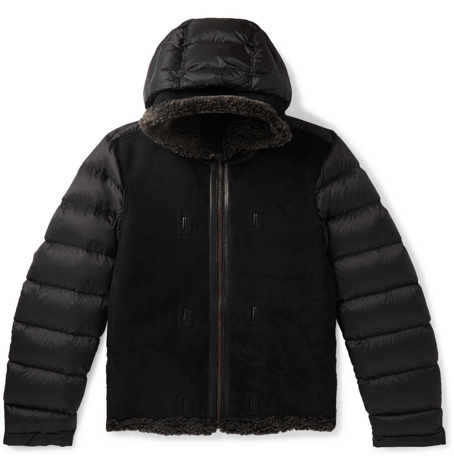 Photo: Ten C - Shearling-Lined Suede and Quilted Shell Down Liner - Black