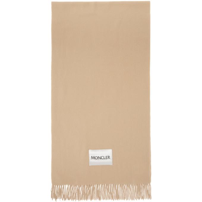 Photo: Moncler Beige Wool Logo Scarf
