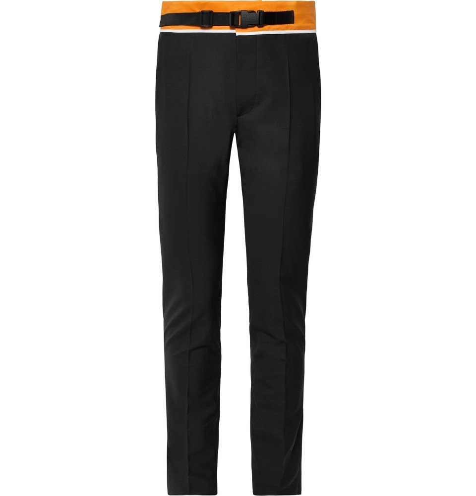 Photo: Maison Margiela - Slim-Fit Tapered Shell-Trimmed Woven Trousers - Midnight blue