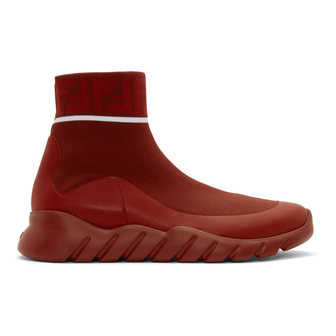 Photo: Fendi Red Tech Knit Forever Fendi High-Top Sneakers