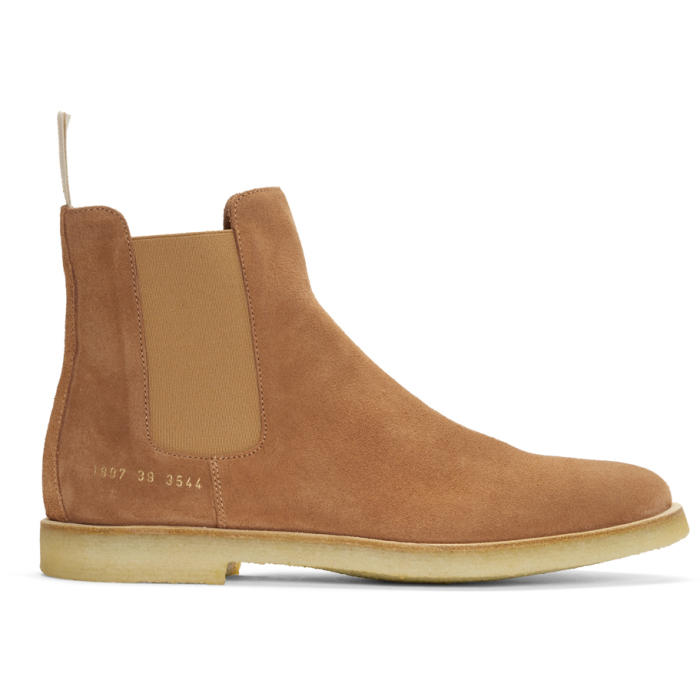 Common Projects Orange Suede Chelsea Boots