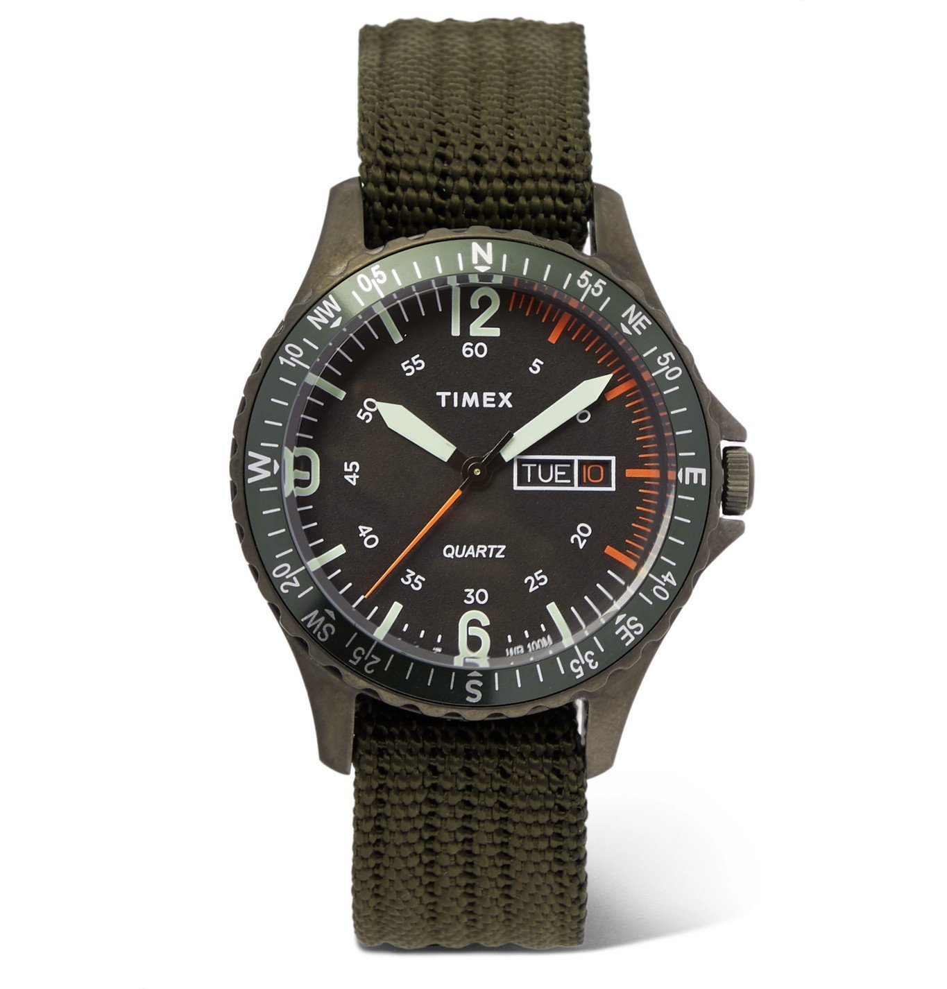 Photo: Timex - Navi Land 38mm Stainless Steel and Ballistic Nylon-Webbing Watch - Green