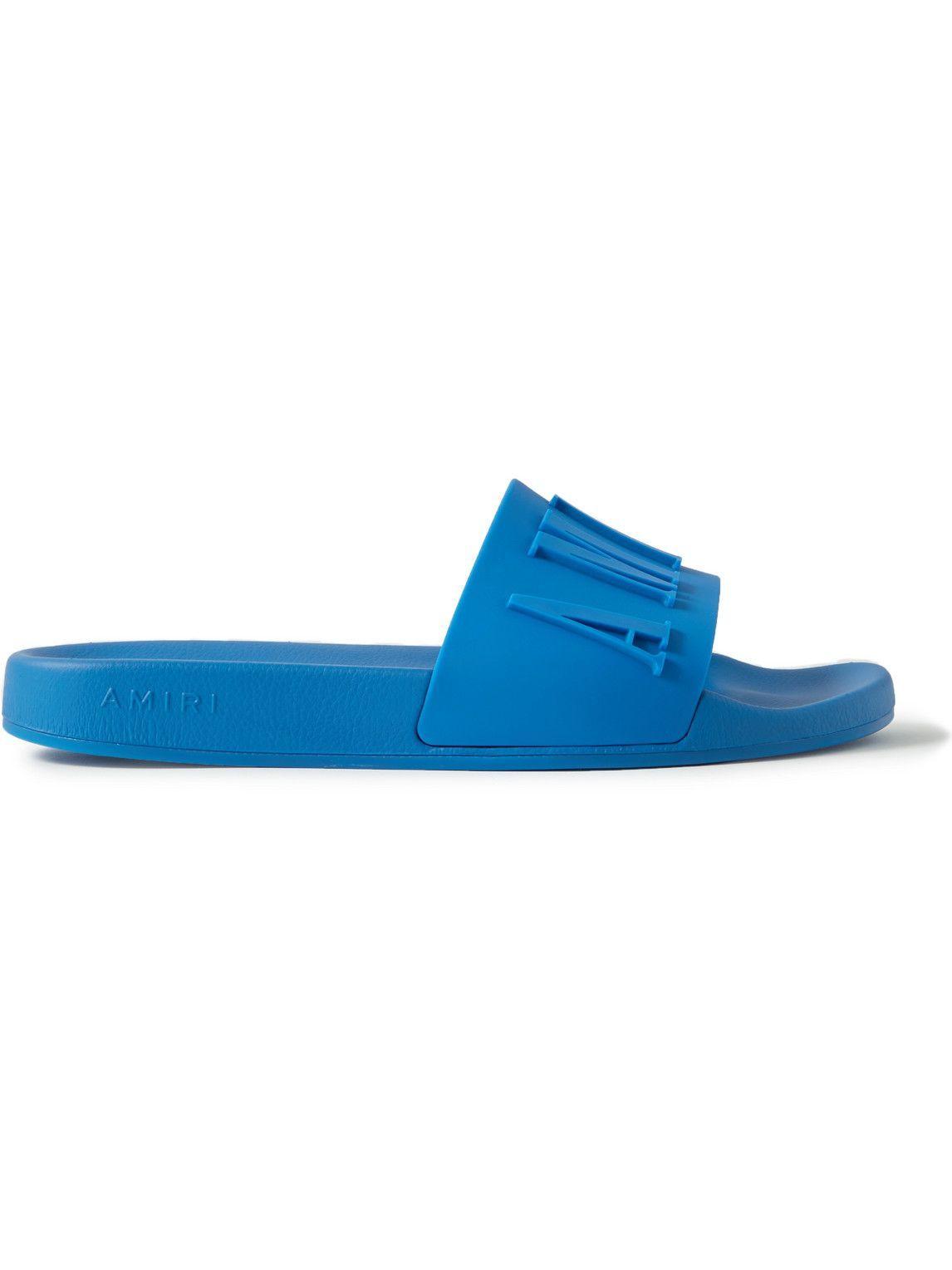 Photo: AMIRI - Logo-Embossed Rubber Slides - Blue