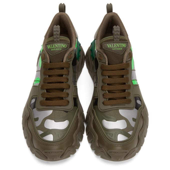 Valentino Green and Silver Valentino Garavani Camo Rockrunner Sneakers