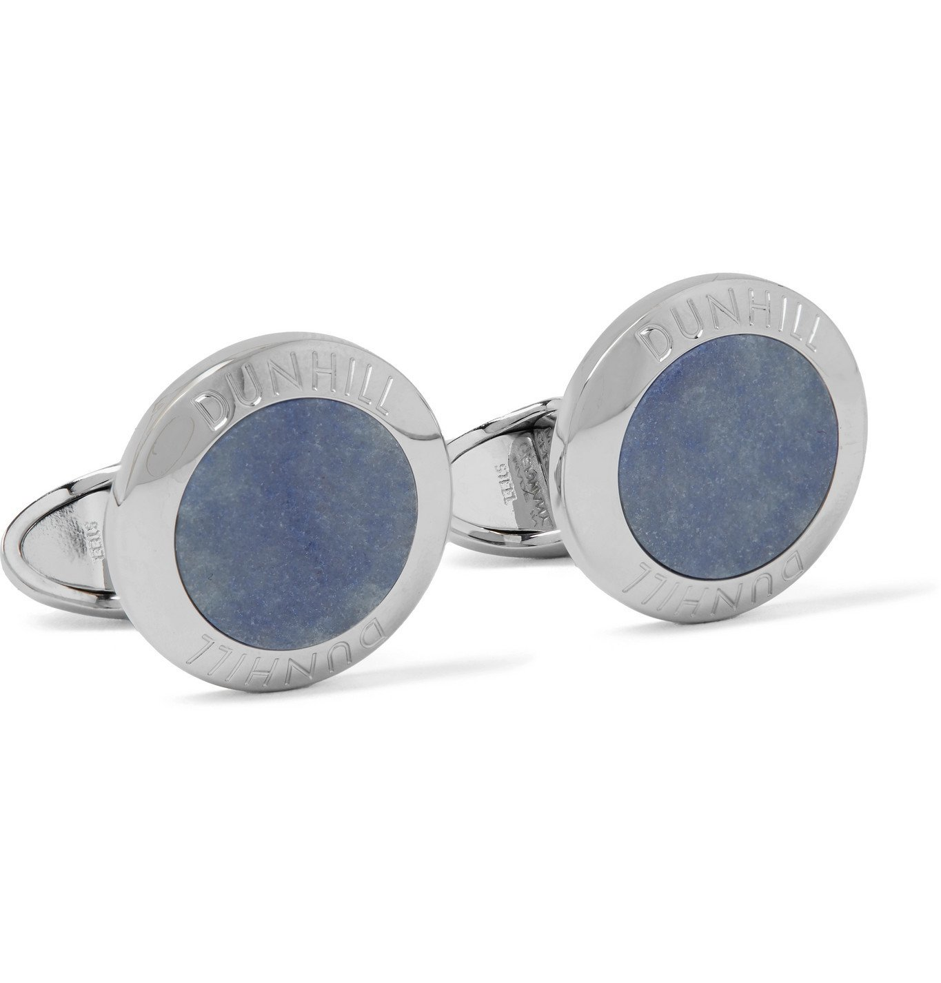 DUNHILL - Logo-Engraved Rhodium-Plated Agate Cufflinks - Blue