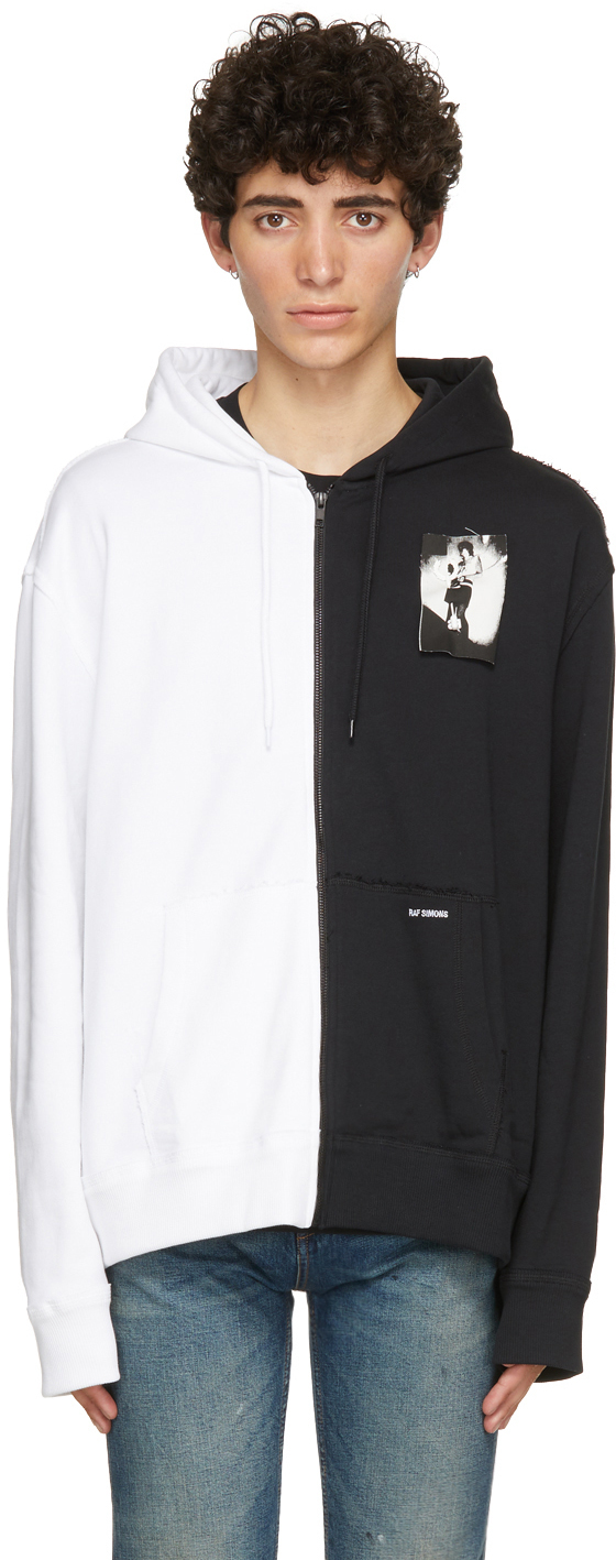 Photo: Raf Simons White & Black Fred Perry Edition Printed Patch Zip-Up Hoodie