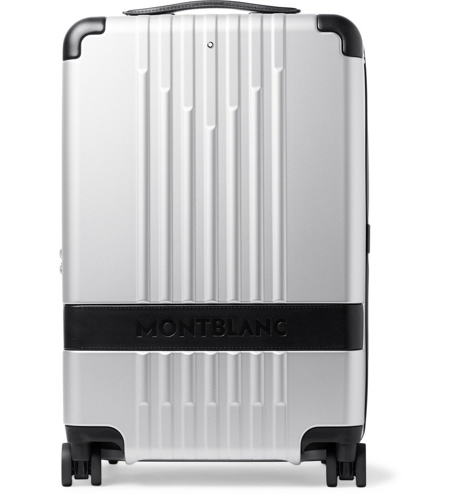 Photo: Montblanc - #MY4810 Cabin Compact 55cm Leather-Trimmed Polycarbonate Suitcase - Silver