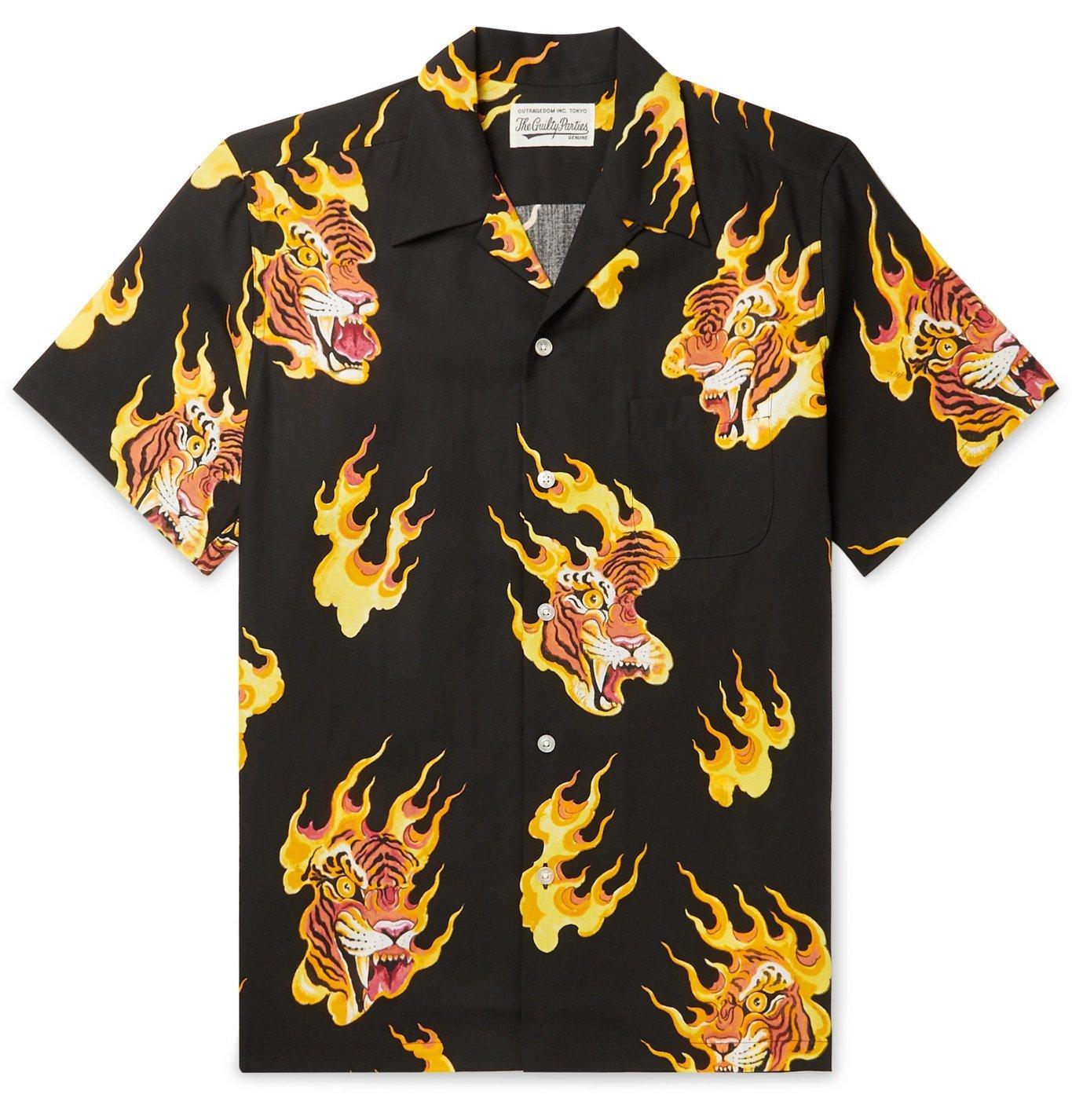 Photo: Wacko Maria - Tim Lehi Camp-Collar Printed Lyocell Shirt - Black