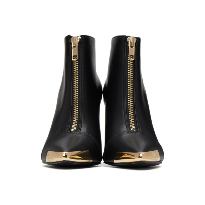 Versace Jeans Couture Black and Gold Cap Ankle Boots