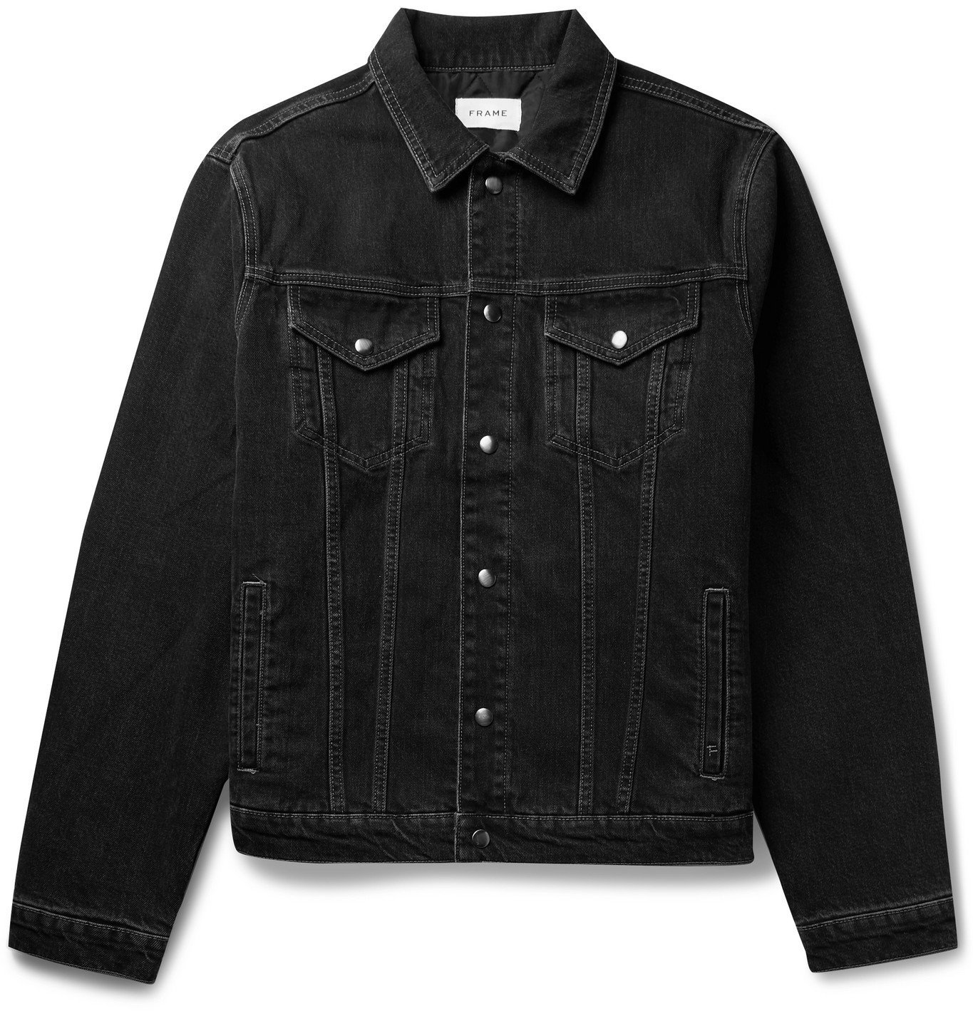 Photo: FRAME - Quilted Satin-Lined Denim Trucker Jacket - Black