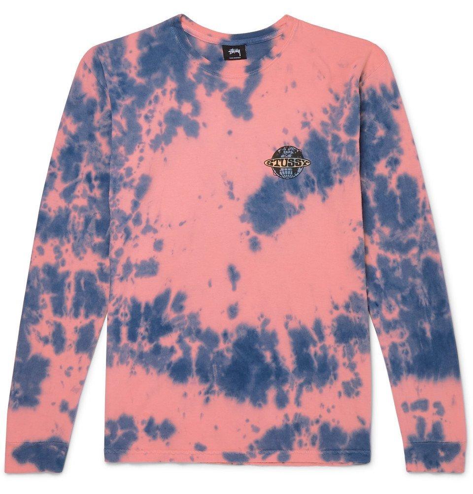 Photo: Stüssy - Logo-Print Tie-Dyed Cotton-Jersey T-Shirt - Pink