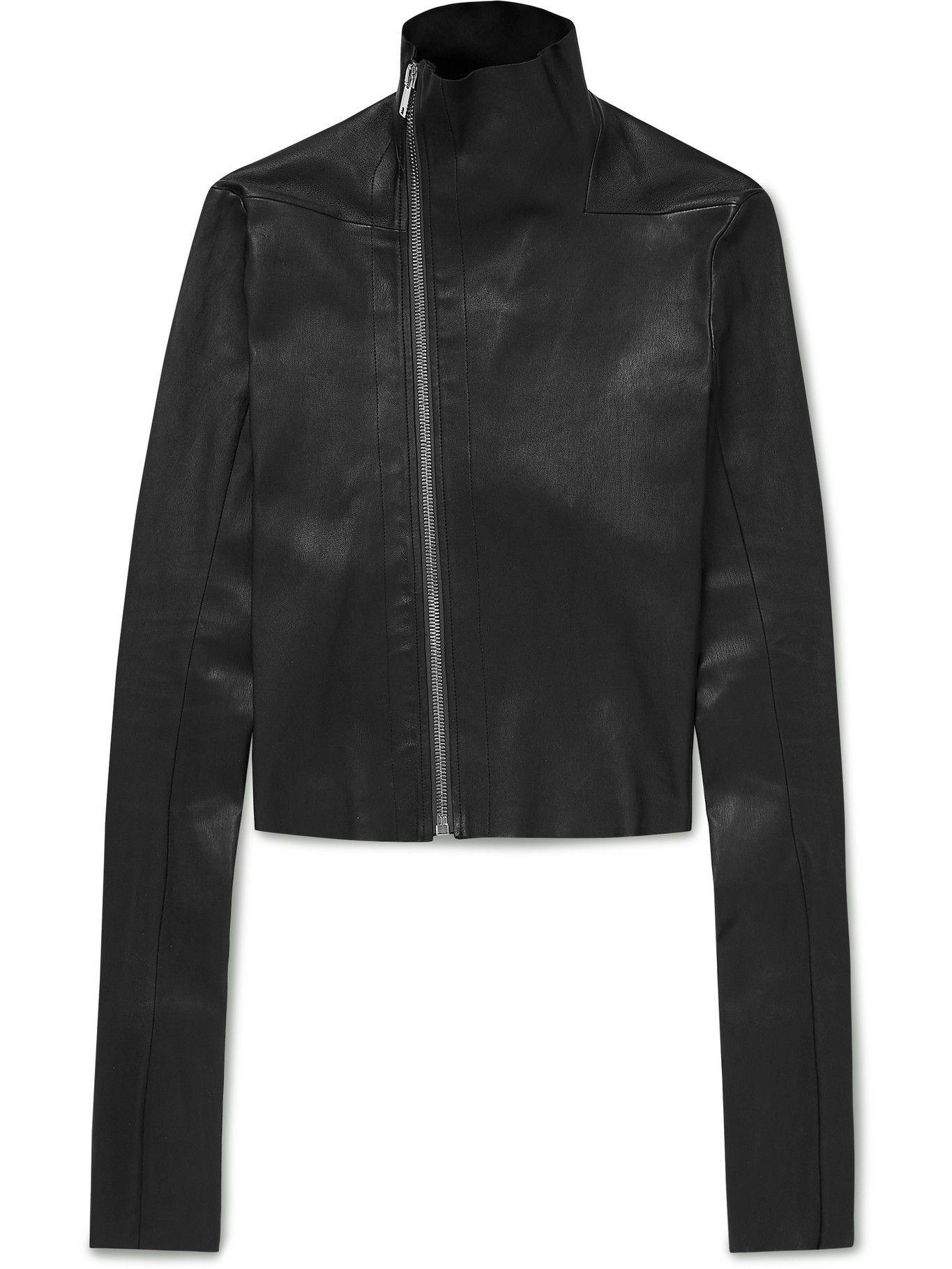 Photo: Rick Owens - Gary Asymmetric Stretch Leather-Blend Biker Jacket - Black