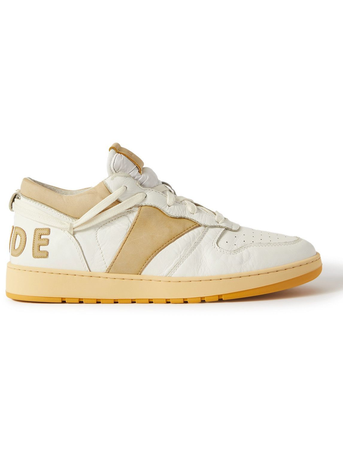 Photo: Rhude - Rhecess Logo-Appliquéd Distressed Leather Sneakers - Yellow