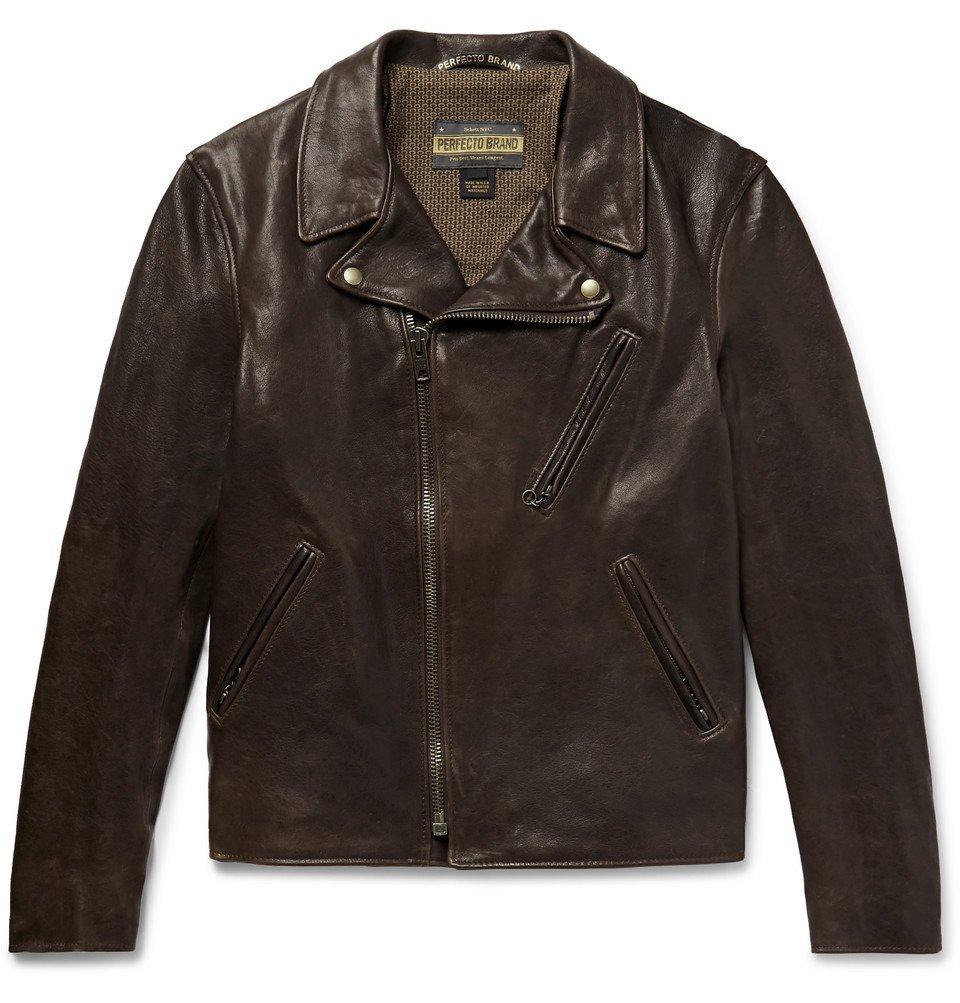 Photo: Schott - Raven Perfecto Slim-Fit Leather Biker Jacket - Dark brown