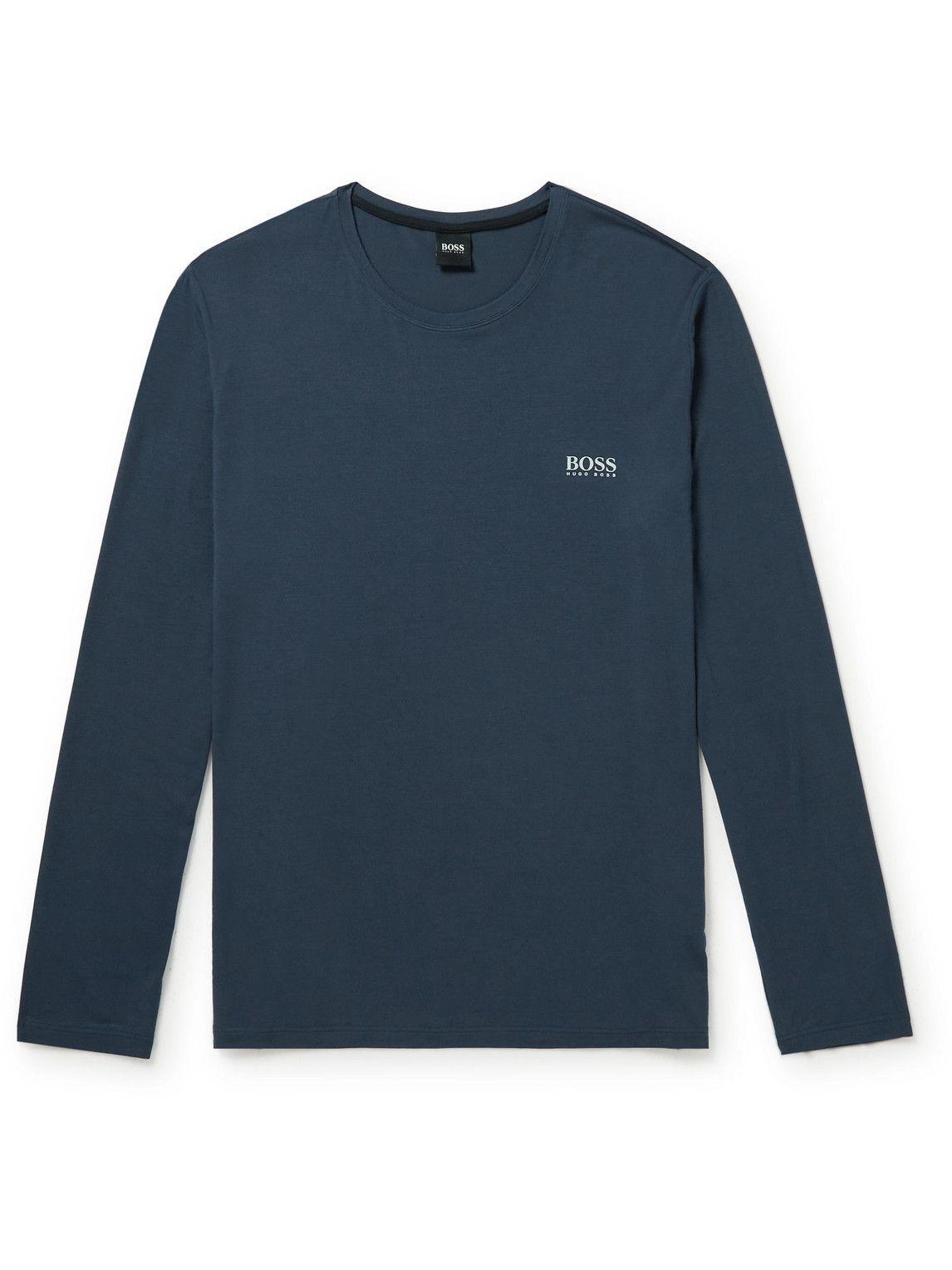 Photo: Hugo Boss - Stretch-Modal Jersey Pyjama T-Shirt - Blue