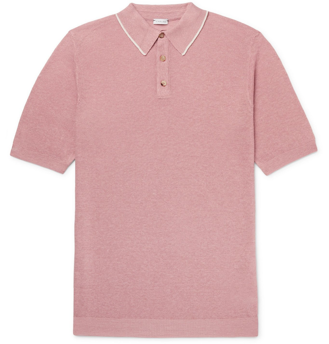 Photo: Caruso - Contrast-Tipped Knitted Silk and Linen-Blend Polo Shirt - Pink