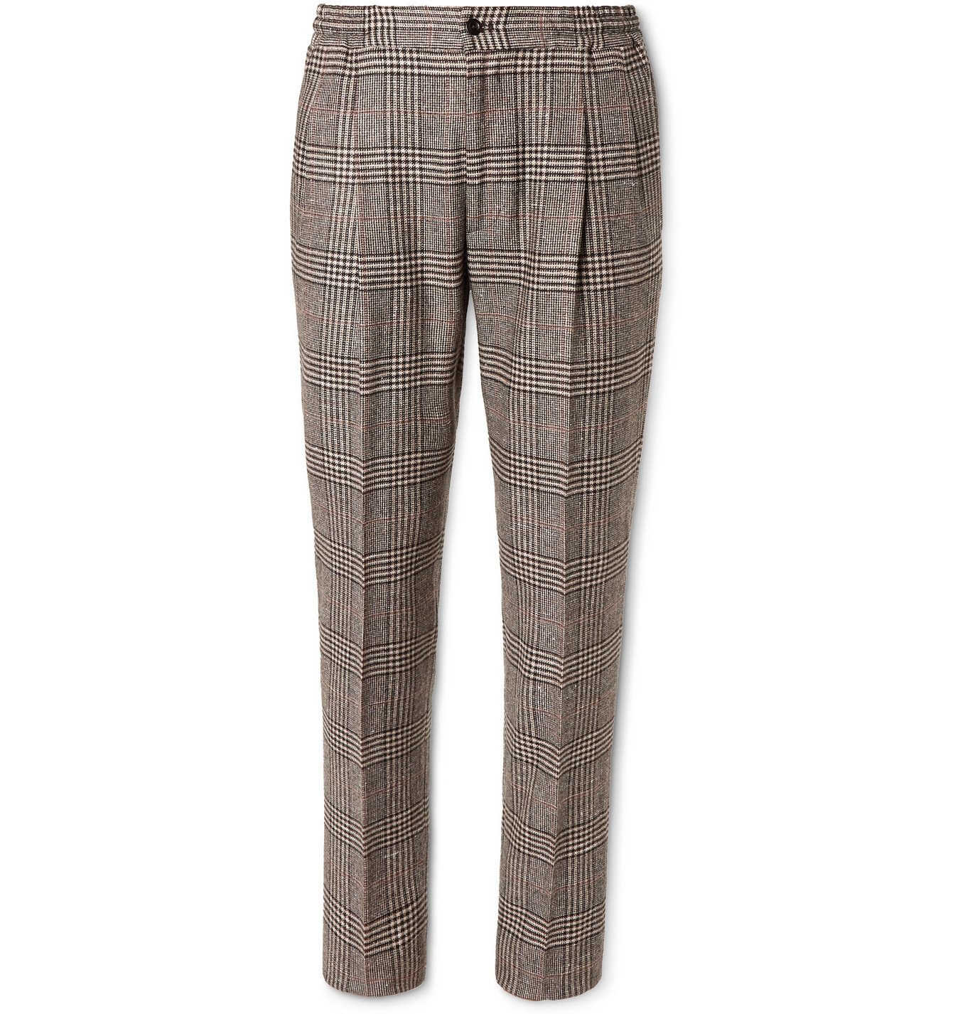 Photo: Rubinacci - Tapered Prince of Wales Checked Virgin Wool-Blend Suit Trousers - Brown