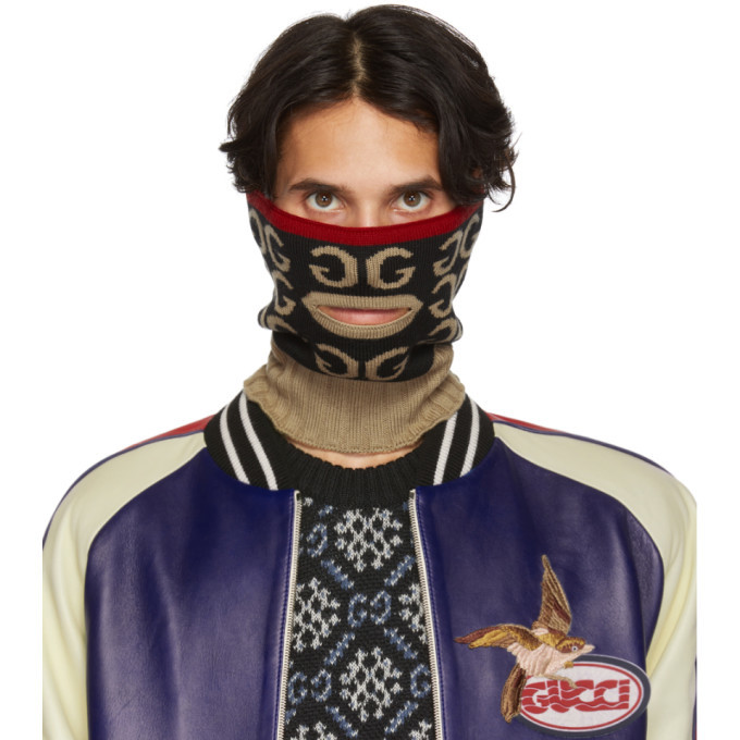 Photo: Gucci Black and Brown Mouth Opening Neck Warmer