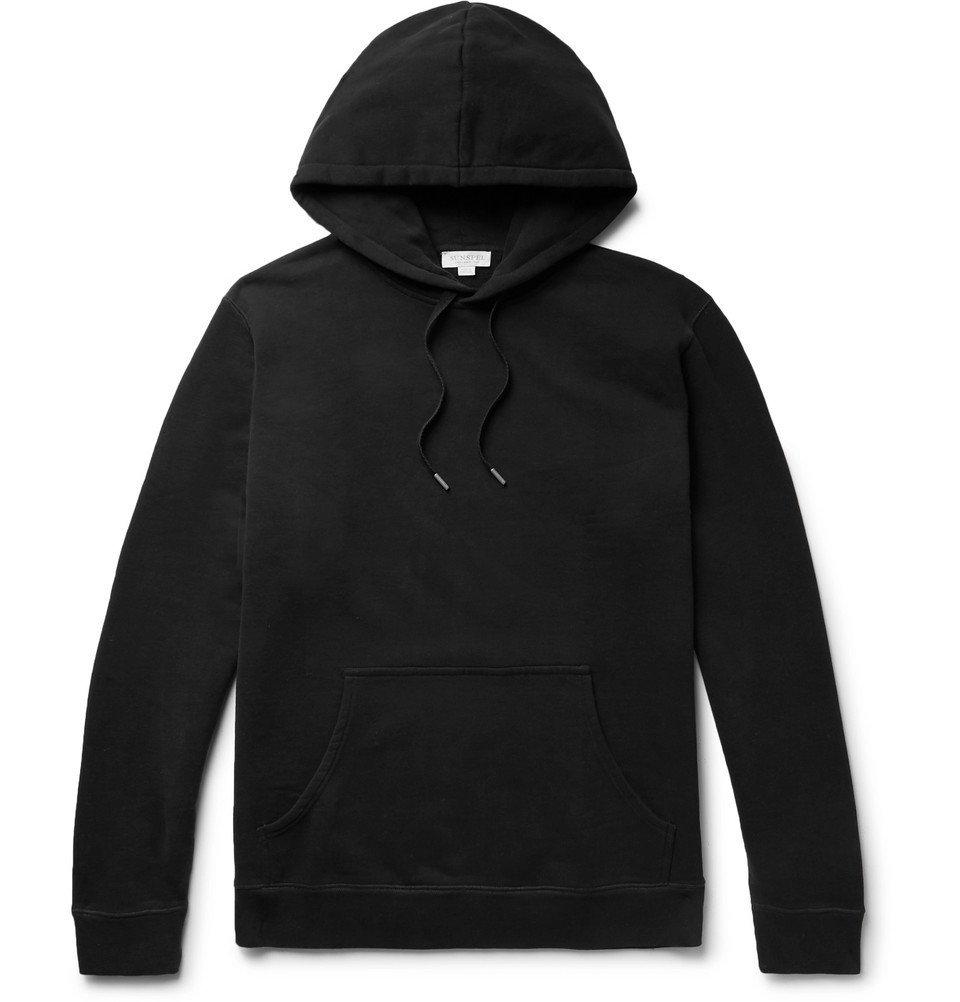 Sunspel - Loopback Cotton-Jersey Hoodie - Men - Black
