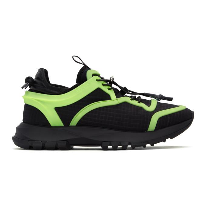 Photo: Givenchy Black and Green Spectre Cage Runner Sneakers