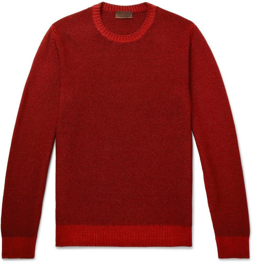 Photo: Altea - Waffle-Knit Virgin Wool Sweater - Red