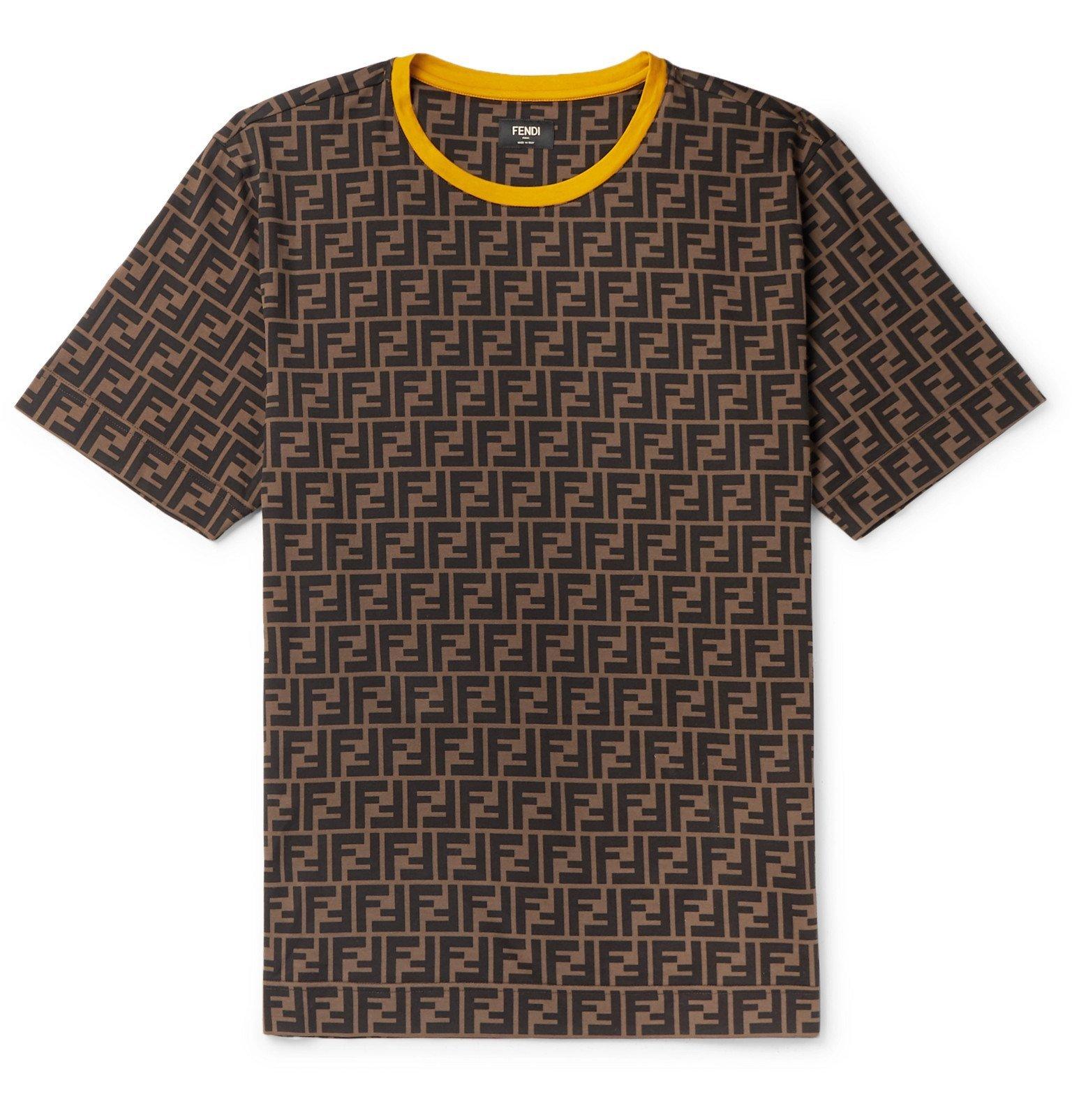 Photo: Fendi - Logo-Print Cotton-Jersey T-Shirt - Brown