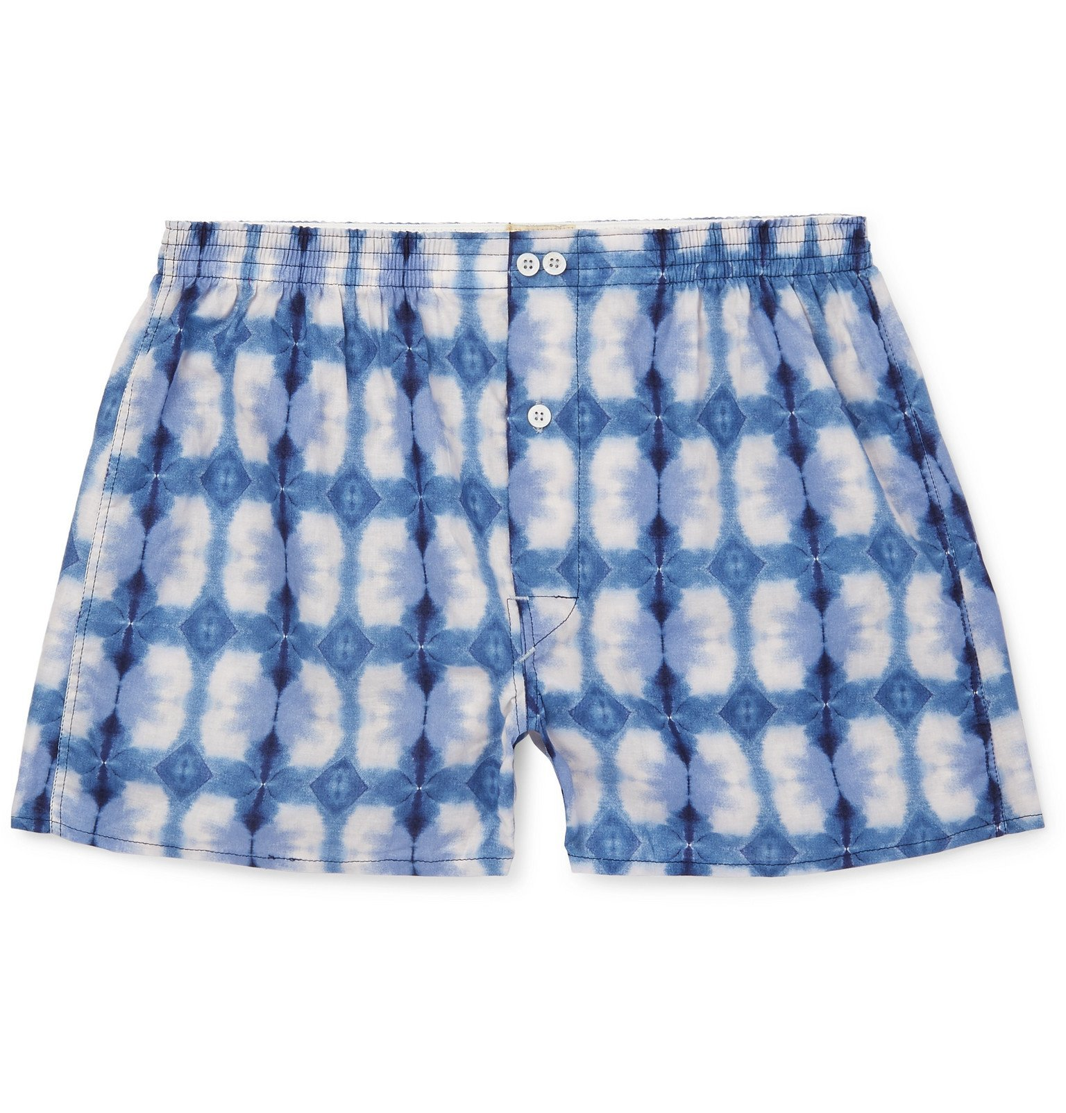 Photo: Anonymous Ism - Tie-Dyed Cotton Boxer Shorts - Blue