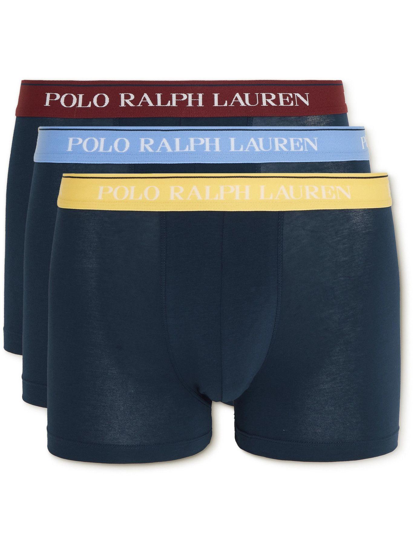 Photo: Polo Ralph Lauren - Three-Pack Stretch-Cotton Boxer Briefs - Blue