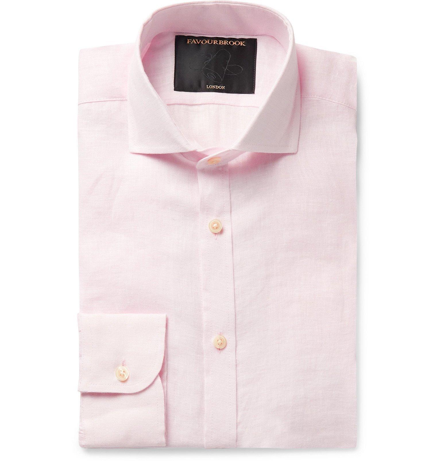 Photo: Favourbrook - Slim-Fit Cutaway-Collar Slub Linen Shirt - Pink