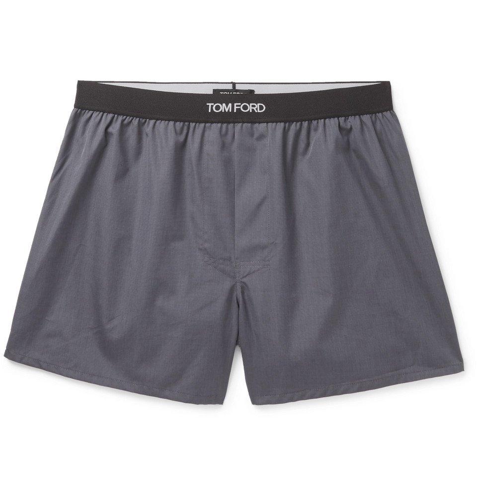 Photo: TOM FORD - Grosgrain-Trimmed Cotton Boxer Shorts - Dark gray
