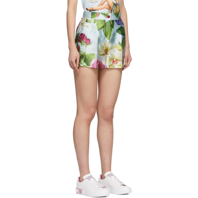 Dolce and Gabbana Blue Floral Shorts